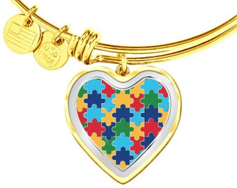 Gift for Autism awareness Bangle/Bracelet with Heart Puzzle Charm Gold
