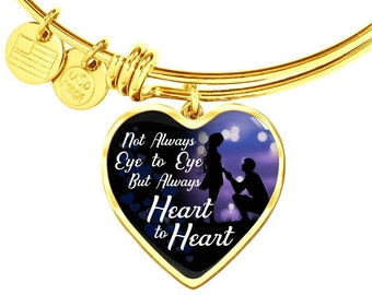 Gift for Her, His Gift for Her, Wife's Gift from Husband, Gift for To Be, Heart  Charm Bracelet Not Always Eye to Eye, But Heart to Heart