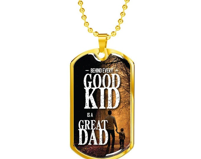 Featured listing image: Best Dad's Gift,, Son's Gift to dad, Father's Day Gift From Son, Father and Son's Gift With Emotional Message  Gold Dog Tag