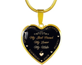 Wife's Birthday Gift, Anniversary Gift For Wife, Best Gift For Wife For Mother's Day, Best Friend, Lover, Wife  Gold Heart Necklace
