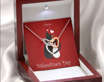 Valentine's day Gift for Mom From Daughter, or Son Interlocked Hearts Necklace