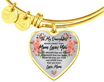 Gift for Daughter From Mom, Mom's Gift to Daughter, Graduation Gift to Daughter, Daughter's Wedding Gift From Mom Heart Pendent Bracelet