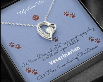 Valentine's day Gift for Vet Wife Heart Pendent Necklace with Personalized Name