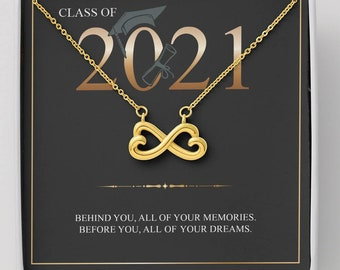 Gift for Class of 2021 Graduate, Graduation Gift  Necklace infinity Hear Pendent Gold