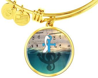 Gift for Teacher, Music Teacher's Gift From A Be Loved Student, Best Teacher's Gift Anchor Wrapped Music Note Gold Bracelet