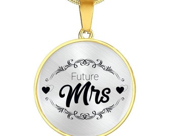 Gift for Feature Wife, Fiancee's Gift Necklace with Gold Chain and Circle Pendent Future Mrs