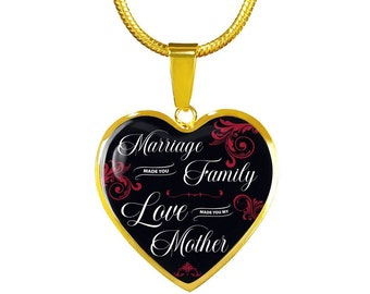 New Mom's Gift, Gift for Baby Shower, New Mother's Gift, First Time Mom's Gift, Marriage Made You Family Love Made You Mother Gold Heart