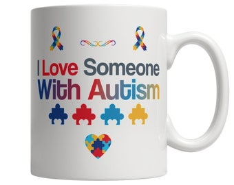 Autism Awareness Coffee Mug with Heart Puzzle, Autism Awareness Gift for Loved One White Coffee Cup 110z