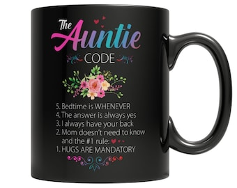 Gift for Aunt The Auntie Code Coffee Mug 11oz Black