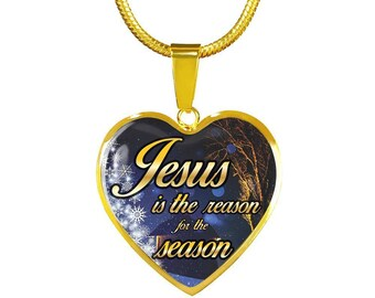 Gift For Her Best Holiday Gift for Mom Aunt, Grandma Jesus Is The Reason For The Season Gold Heart Necklace