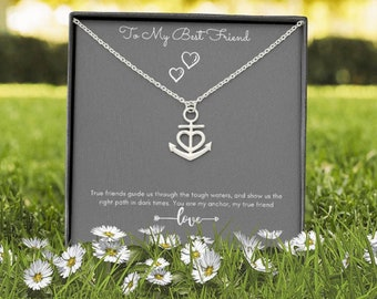 Valentine's day Gift for Best Friend Heart and Anchor Pendent Necklace