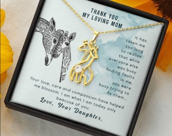 Gift for Mom, Mothers Day Gift for Mom, Mom daughter Gift Necklace, Moms Gift, Gift for Her Special Gift for Mom Giraffe Pendent Necklace