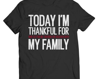 Thankful For Family and  Wine Unisex T-shirt Black
