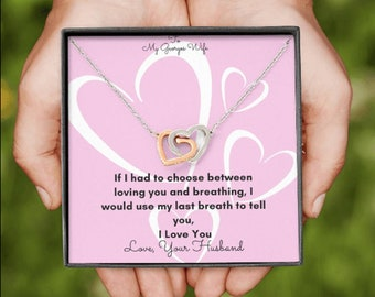 Valentine's day Gift for her Wife's Gift for Valentine's day Interlocked Hearts Necklace