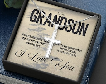 To My Grandson, send Off Gift to Grandson, Farewell Gift for Grandson, Grandparent's Gift to Grandson,Cross Necklace White
