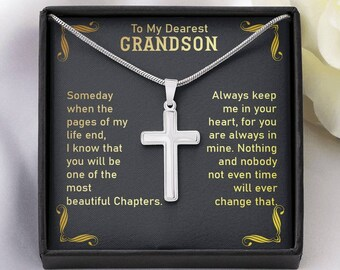 Cross Necklace from Grandma, Grandson Gift from Grandpa, Birthday Gift to Grandson,Grandparents Gift to Grandson, My Dearest Grandson