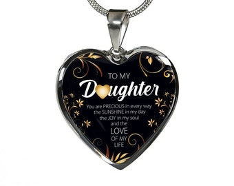 BIRTHDAY NECKLACE GIFT – To My Beautiful Daughter, You Are Precious - Mom to Daughter Birthday Gift - Stainless Steel Heart Pendant Necklace