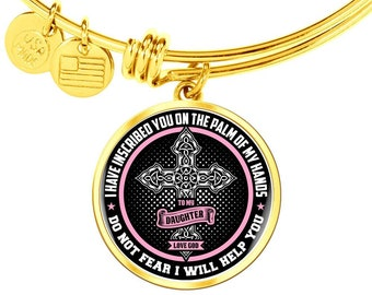 Do Not Fear I Will Help You, spiritual Gift for Women, charm bracelet with Cross, Cross Charm Bracelet Bangel