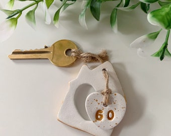 Personalised New Home Tag, New Home Gift, House Warming Gift, New House Present, Homeowner Gift, Small Gifts, Keepsake Gift, Clay Tag,