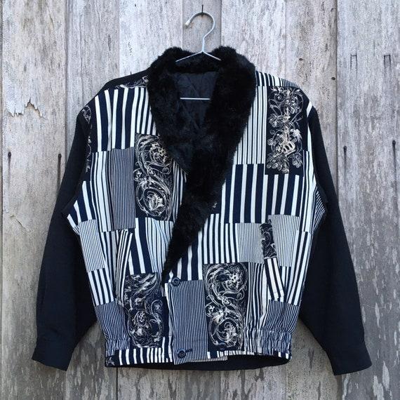Baroque Print Bomber Silk Jacket