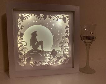 The Little Mermaid, Ariel, Beach Life, Decorative Shadow Box Shadowbox Frame, Great gift!  Beautifully unique! Home Decor