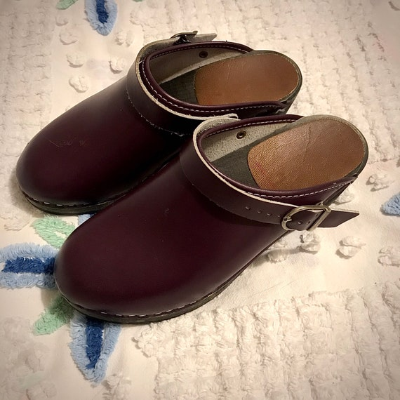 Vintage Plum Swedish Clogs
