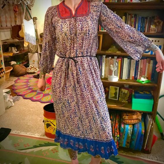 Vintage 70s Indian Gauze Tunic Dress