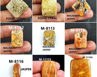 Pendant making gemstone #GP6242 44 x 23 Natural Designer Fossil coral Jasper loose cabochon