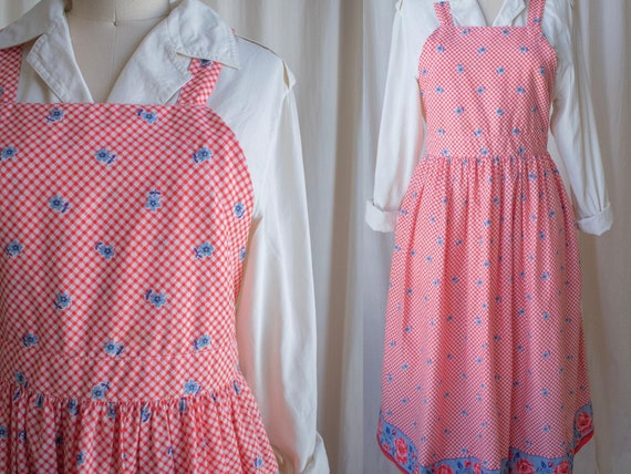 Floral Gingham Apron Dress