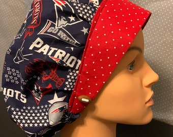 Operating Theatre Scrub Hats Red Football Design. Nurse Doctor