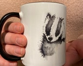 Badger Watercolour Mug with Black Interior