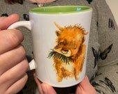 Highland Cow Watercolour Mug with Green Interior