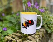 Honey Bee Watercolour Mug with Yellow Interior