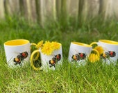 4 Honey Bee Watercolour Mug with Yellow Interior ** special offer **