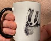 Badger Watercolour Mug with Black Interior