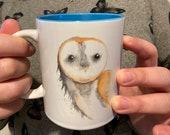 Barn Owl Watercolour Mug with Blue Interior