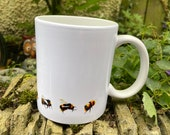A Selection of Bees Watercolour Mug in White