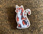 Cat Wooden Pin Badge