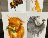 Watercolour Animal Greeting Cards with Herdwick sheep, highland cow, honey bees or fox designs. Blank suitable for any occasion.