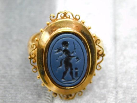 Nicolo Onyx Cupid Intaglio Ring
