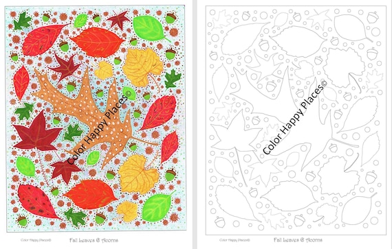 Fall Leaves & Acorns Autumn Coloring Page Full Color Reference