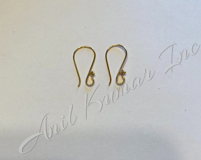 Pyramid ending 18k Gold French Ear Wire Pair 26 gauge