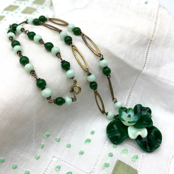 1930s Green Czech Glass Necklace with Brass Floral Links