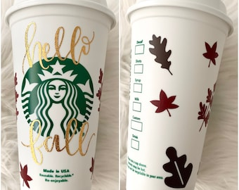 Hello Fall Grande Starbucks hot cup with lid | Autumn Leaves Reusable Travel Mug | Personalized Tumbler with name | Gift for Teacher |