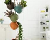 Hanging Multicolor Mini Ceramic 4 Planter Set