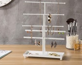5-Bar White Metal Jewelry Organizer with Ring Tray, Tabletop Necklace Bracelet Holder Stand