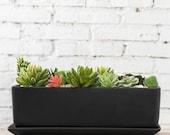 Rectangular Ceramic Succulent Planter with Saucer, Black