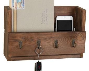 Wood Entryway Mail Organizer with 4 Hooks for Key Organization