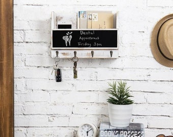 Whitewashed Wall Mounted Mail Holder with 4 Hooks, Key Holder for Wall with Chalkboard
