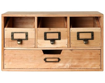 Rustic Brown Wood Desk Organizer Cabinet or Arts and Crafts Organizer with Labels